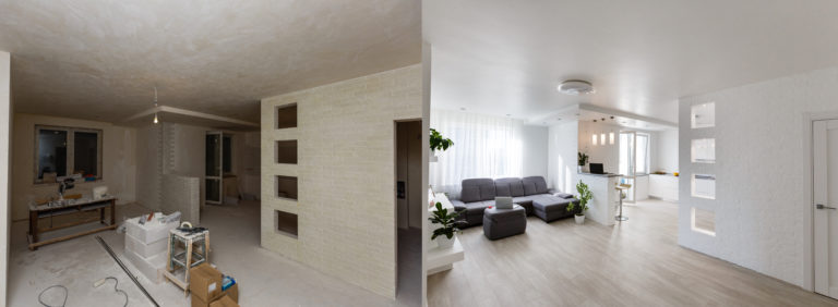 Renovation,Before,And,After,-,Empty,Apartment,Room,,New,And