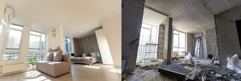 Room,With,Unfinished,Walls,And,A,Room,After,Repair.,Before