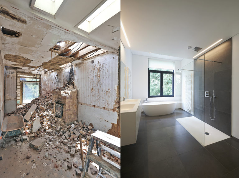 Renovation,Of,A,Bathroom,Before,And,After,In,Horizontal,Format